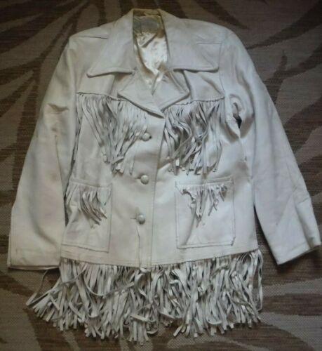 Vintage 40's white fringe Pioneer Wear deer skin l