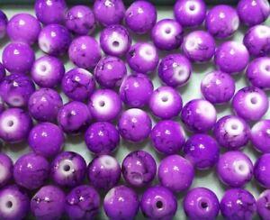 lot 20 perles en verre 8mm effet marbré fuchsia et noir ////13