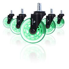 Green Gaming Amp Office Chair Wheels Set Of 5 Heavy Duty Caster Smooth Rollerbla
