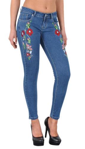 Sale donna skinny jeans con fiori RICAMO Jeans skinny con motivo a rose j274