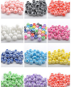 Wholesale-Acrylic-ZEBRA-STRIPE-Round-Charms-Loose-Spacer-BEADS-6MM-8MM-10MM-12MM