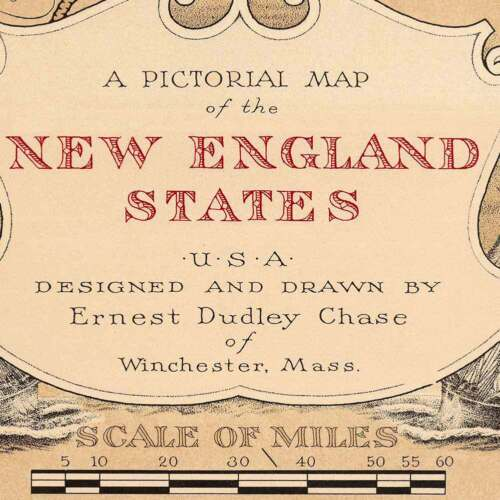 "RI circa 1939-24/"" x 32/"" VT NH ME CT MAP of USA/'s New England States MA"