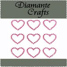 9 Hot Pink Diamante Hearts  Vajazzle Rhinestone Body Art Self Adhesive Gems