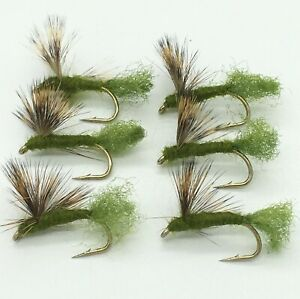 6 x Cream Sparkle Dun Dry Fly Fishing Flies For Trout Salmon