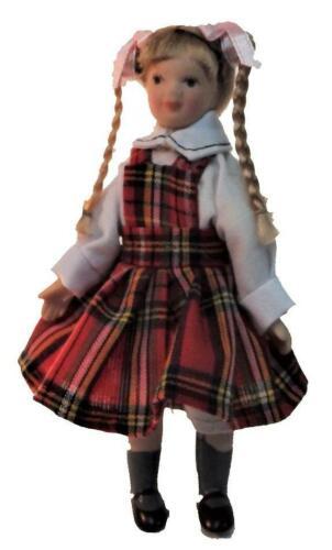 Melody Jane Casas de Muñecas Chica En Porcelana De Tartán Pichi en miniatura 1:12 personas