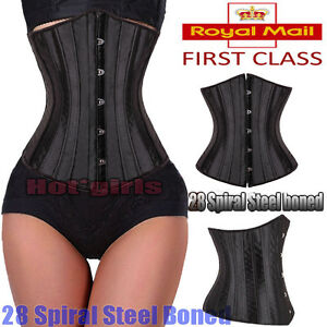 28-Steel-Boned-Tight-Lacing-Underbust-Waist-Training-Corset-Trainer-Shaper-HG