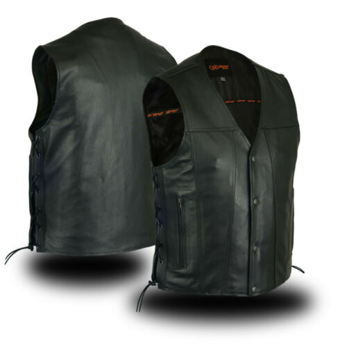 Men/'s Motorcycle Single Back Soft Premium Cowhide Leather Concealed Carry Vest