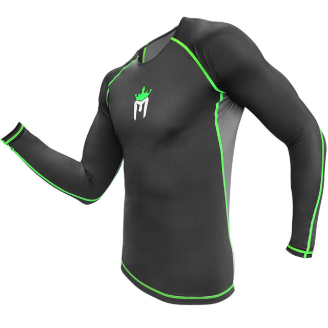 MEISTER RUSH LONG SLEEVE RASH GUARD - BLACK/GREEN - MMA BJJ Surfing Diving Shirt