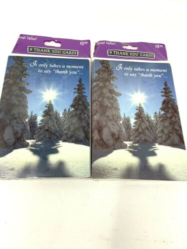 16 Gibson Holiday Christmas Thank You Note Cards New Year Mountain Snow Forest