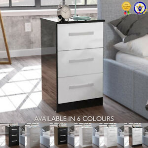Lynx-3-Drawer-Bedside-Chest-Gloss-Black-Grey-White-Walnut-Drawers-Cabinet