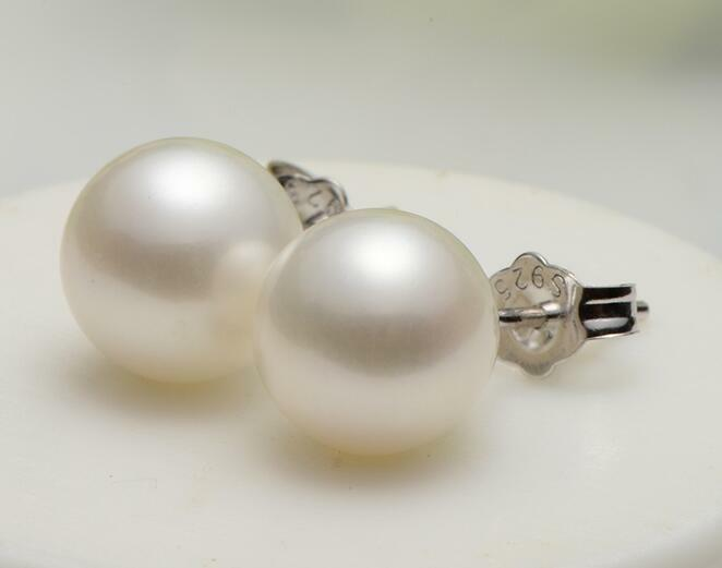 9-10mm AAA south sea round white pearl earring