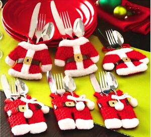 6x-Christmas-Decorations-Happy-Santa-Silverware-Holders-Pockets-Dinner-Decor-New