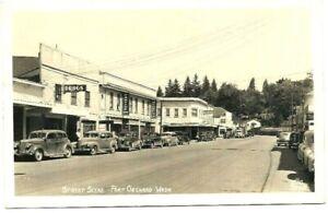 Vintage-Post-Card-c-1930-039-s-Wa-Port-Orchard-Street-Scene-Automobiles-Cars-RPPC