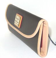 Dooney & Bourke Carley Brown Canvas Coated Continental Clutch Wallet $118