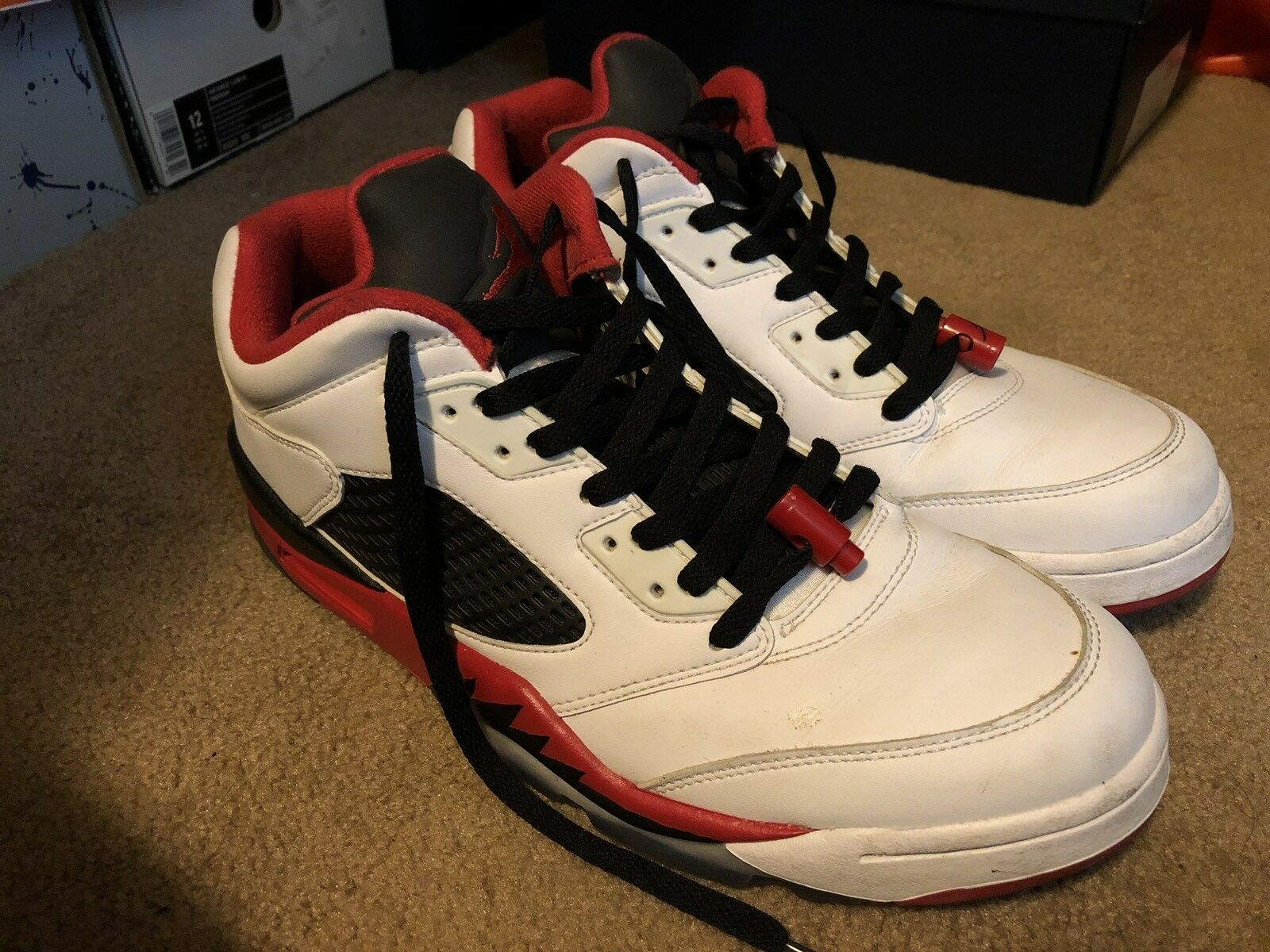 NIKE AIR JORDAN 5 V FIRE RED BLACK BRED WHITE LOW BASKETBALL