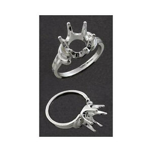 (10mm) Round Semi-Offset Sterling .925 Ring Setting (Ring Size 7 )