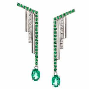 Neo-Deco-24-Brilliant-Cut-CZ-44-Tsavorites-amp-2-Emeralds-Art-Deco-Earring-925-SS