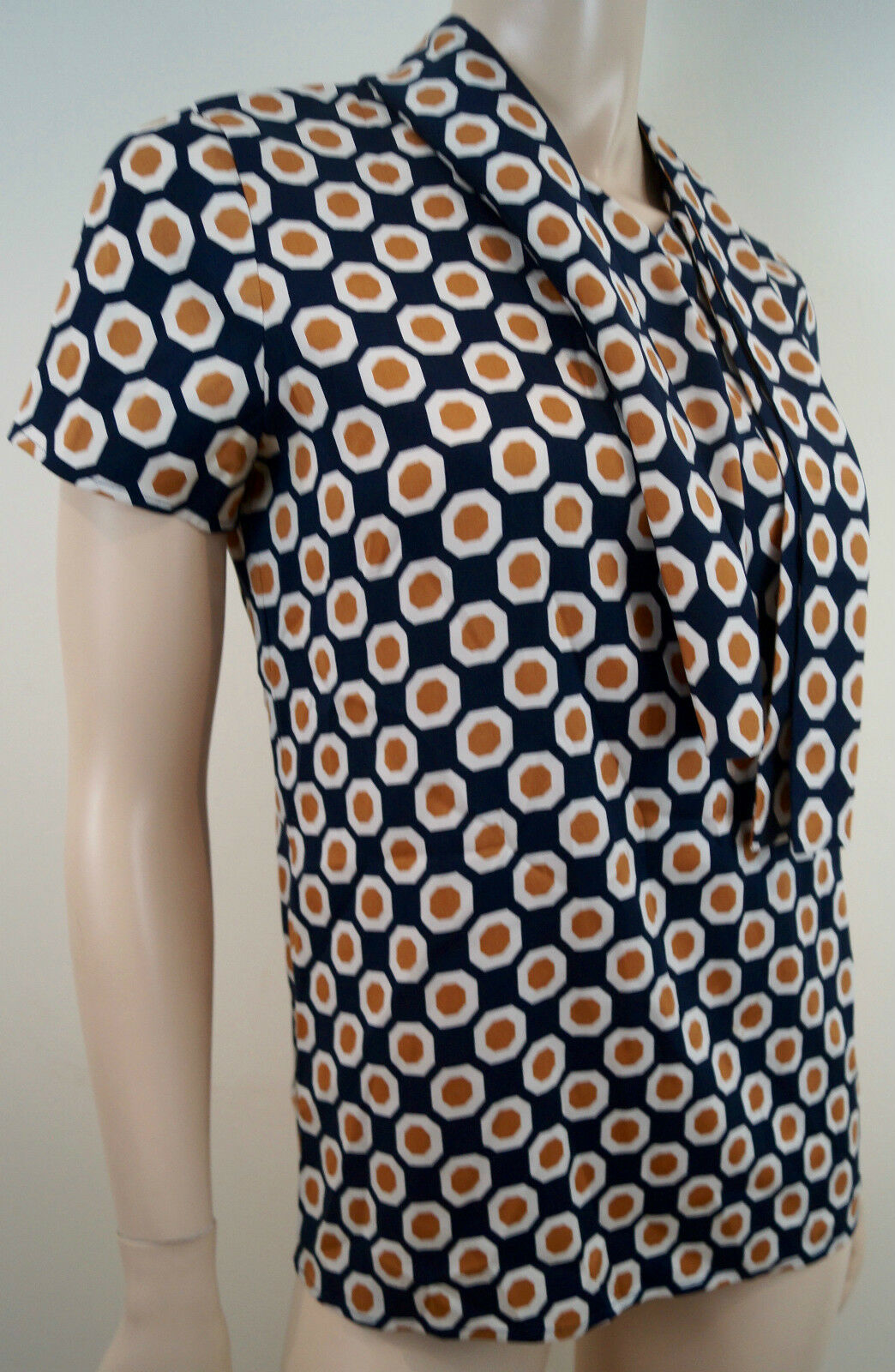 THEORY Navy & Orange Silk Stretch Geometric Print Short Sleeve Blouse Top S