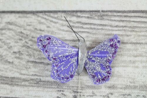 24 Real Feather Butterflies Butterfly Weddings Crafts Cards 12 Colours 4cm