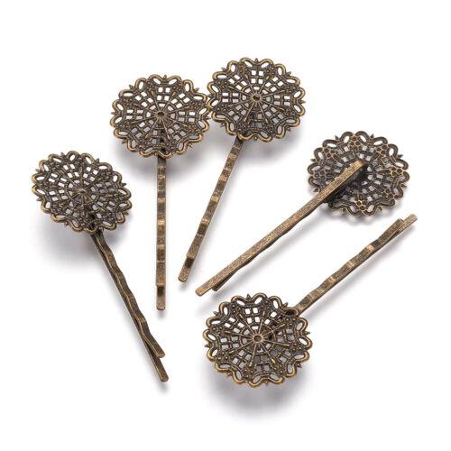 10 Brass Slide Hair Bobby Pins Filigree Flower Glue-on Tray Antique Bronze 65mm