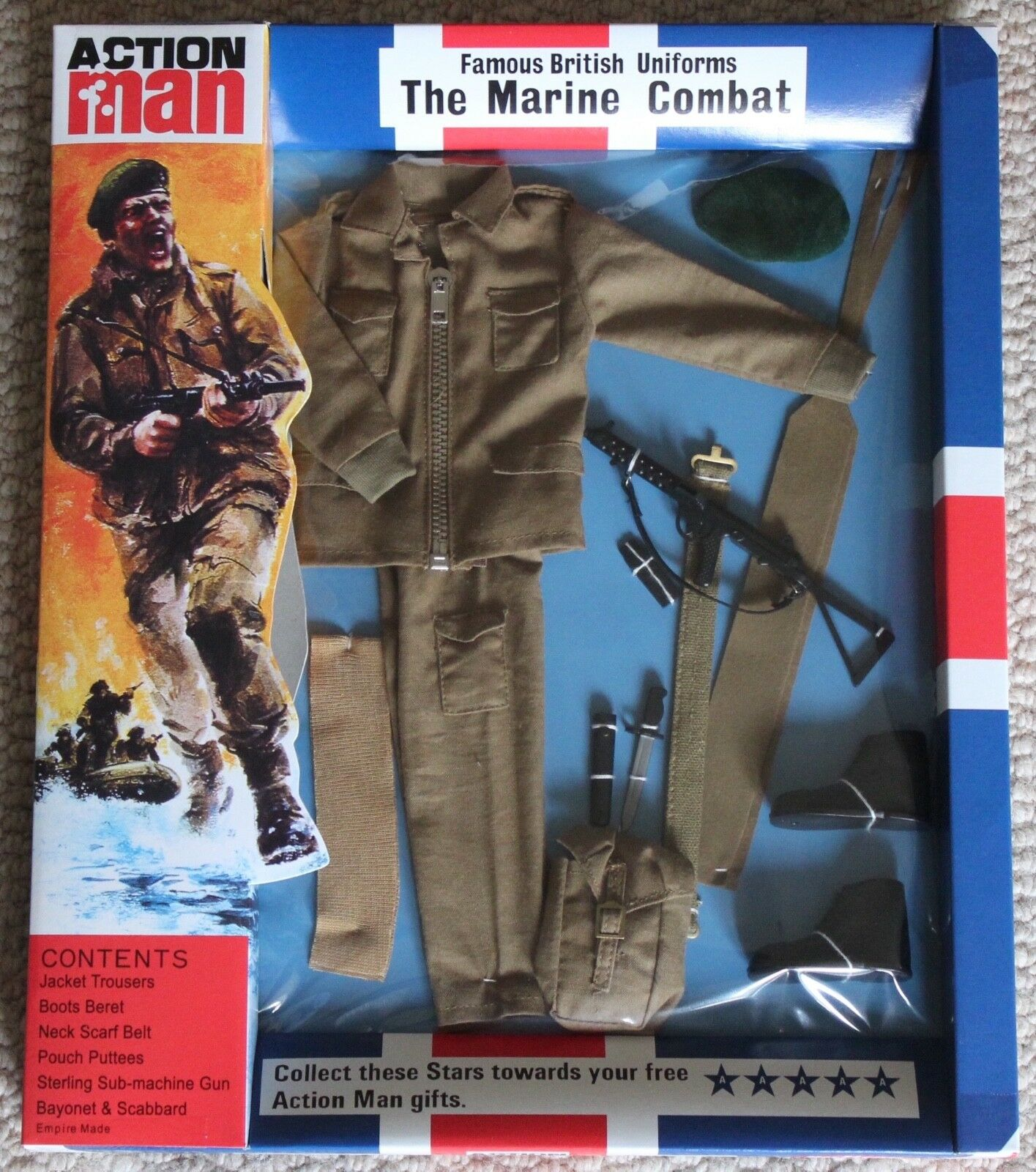 Vintage action man 40th anniversary combat marine card boxed