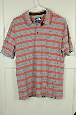 50befed3a The North Face Gray/Orange Stripe Cotton Short Sleeve Polo Shirt ...