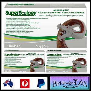 Super-Sculpey-MEDIUM-BLEND-1lb-454gm-Oven-Bake-Clay-Grey-x-3