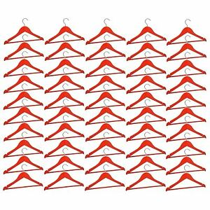 50-Childrens-Wooden-Coat-Hangers-Kids-Clothes-Trouser-Hanger-Bar-Red