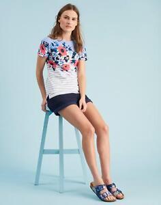 Joules Womens Nessa Print Jersey T shirt 8 in HAZE BLUE CAMELIA STRIPE Size 8