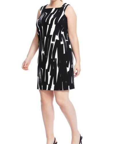 London Times Sleeveless Ponte Knit Square Neck Zig Zag Shift Dress Size 20W