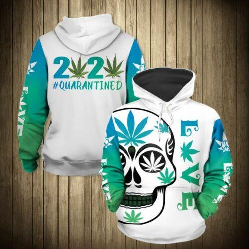 3XL Cannabis Skull 2020 Quarantined Hoodie 3D Printed M