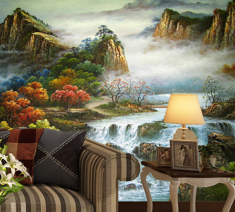 3D Mountains River Scenery Wall Paper Print Decal Wall Deco Indoor wall Mural