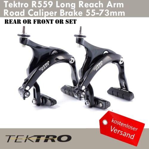 Tektro R559 Long Reach Arm Rennra Caliper Bremsen 55-73mm Vorn//Hinten Schwarz