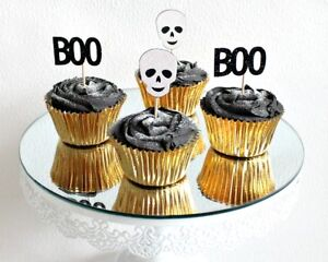 Scary Skull Cupcake Toppers Halloween Decorations Party Cake Topper