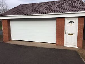 Modern Sectional Garage Door White Insulated Double Width We Beat