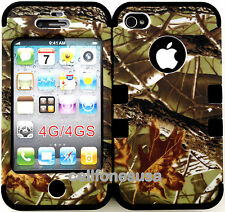 Apple IPhone 4 4s Hybrid Cover Case Silicone Mossy Camo  Branch Leaf on Black
