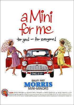 MINI MORRIS AUSTIN BMC RETRO A3 POSTER PRINT FROM CLASSIC 60'S ADVERT