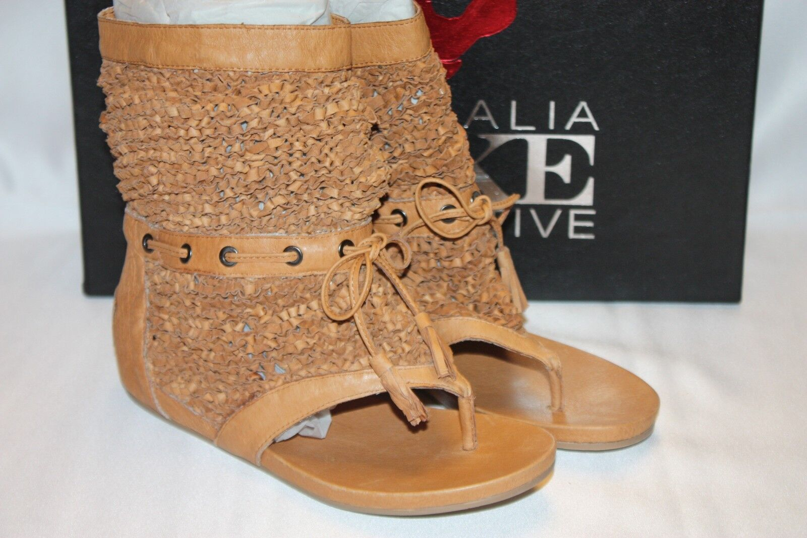 NEW  NIB  AUSTRALIA LUXE COLLECTIVE Tan Woven Leather FERNANDEZ Sandals Sz 5