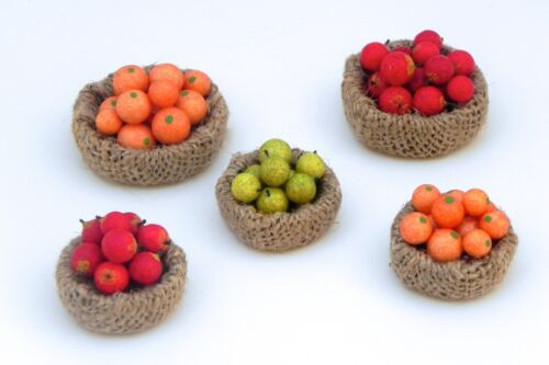 Dollhouse Miniature Set 5 Baskets Filed with Fruits Apples Pears and Oranges