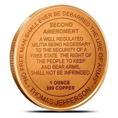 Second Amendment 1oz Copper Round Great 2nd Amendment Reminder
