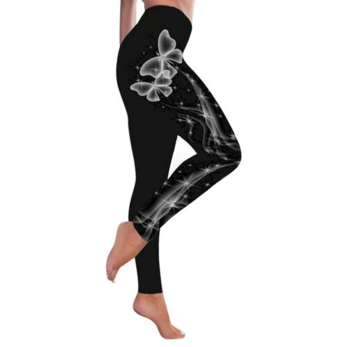 Details about  /Women Butterfly Print Yoga Pants Fitness High Waist Running Sports Leggings HSC