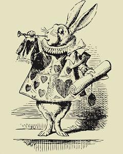 Alice-Wonderland-White-Rabbit-Vintage-Art-Print-Poster-A1-A2-A3-A4-A5