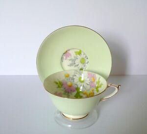 Paragon-Green-Daisies-Bone-China-Cup-amp-Saucer-Set