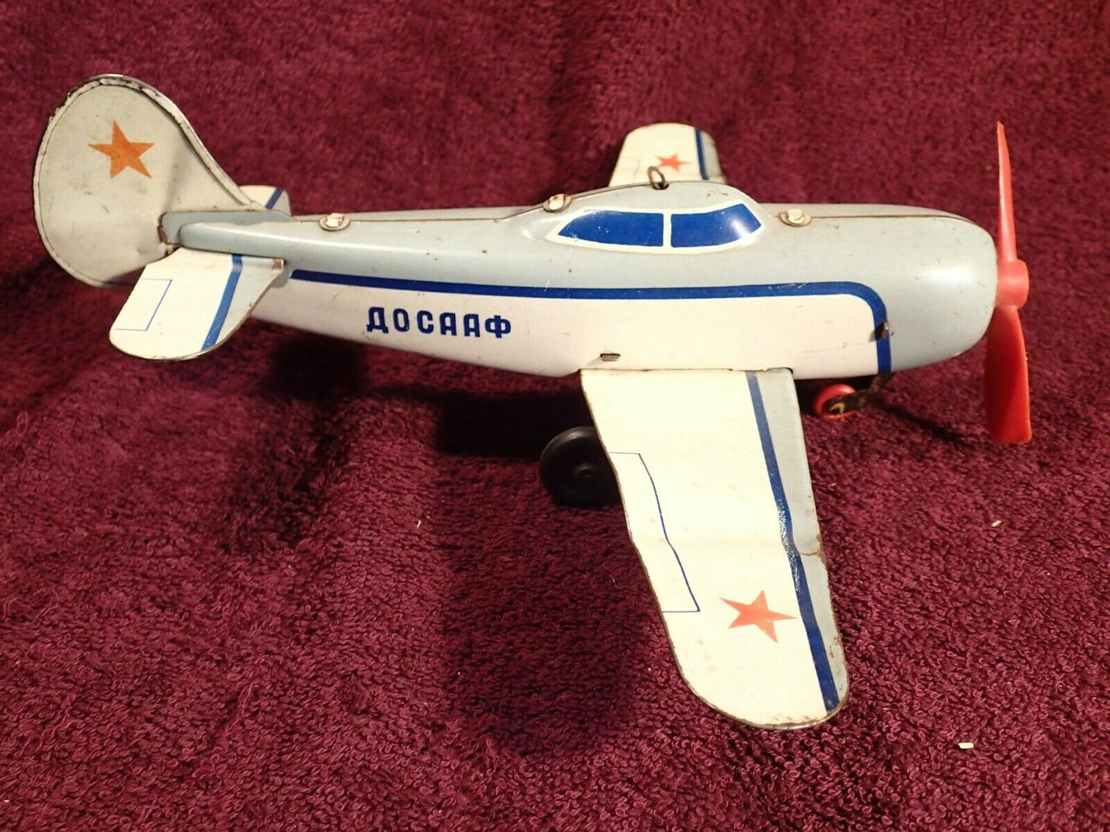 1960-s SCARCE - DOSAAF AEROPLANE PLANE VINTAGE TIN TOY SOVIET RUSSIA RUSSIAN