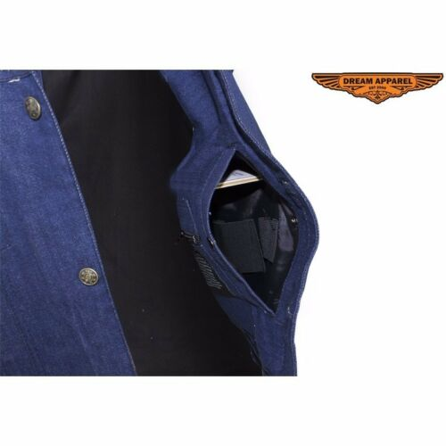 Men/'s Blue Denim Concealed Carry Vest free shipping