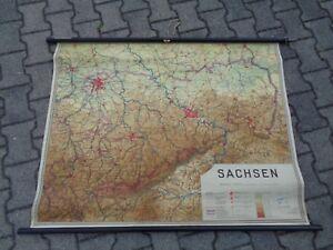 Alte-Karte-Rollkarte-Schulkarte-Sachsen
