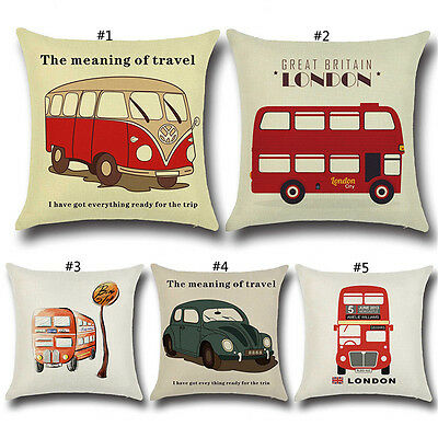 Hot Bus Home Decor Pillow Case Pillow Cover Cushion Linen Cotton Pillowcases