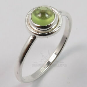 FINE-EDH-925-Solid-Sterling-Silver-Genuine-PERIDOT-Gems-Pretty-Ring-Choose-Size