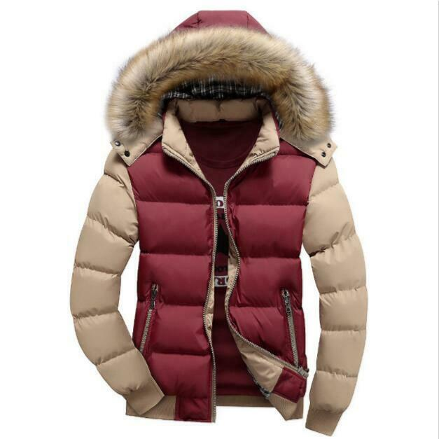 Patchwork Herrenmode Faux-Pelzkragen Winter Kapuze Jacken schweißjacke Stehkragen