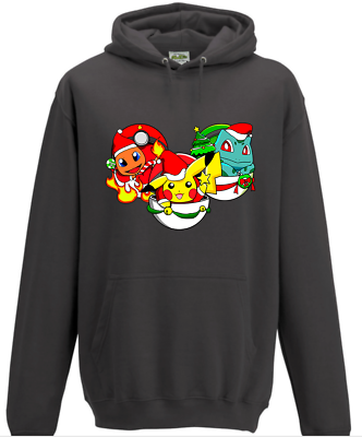 Pokemon GO Mens Hoodie New Officially Licensed Charmander Squirtle Meowth